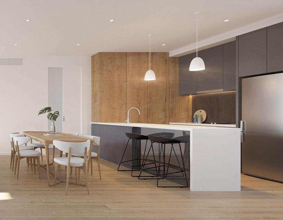 3 bed kitchen render